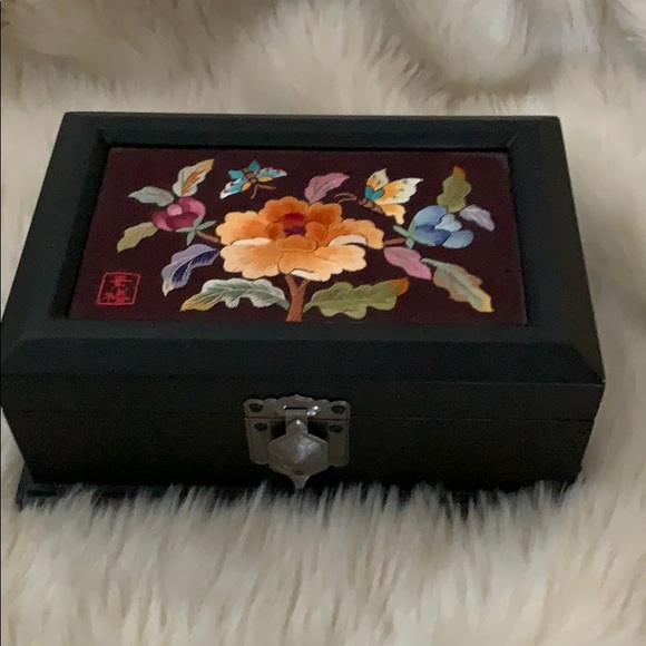Jewelry Box w/ Embroidered Floral Butterfly Design
